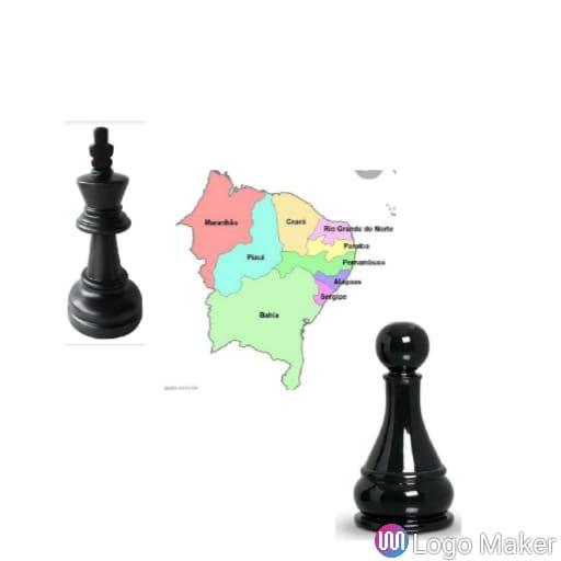 Descrição do Logo: Um peão e um rei de xadrez segurando um mapa do nordeste